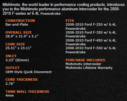 6.4 Powerstroke Turbo Specs >> Mishimoto - Performance Intercooler - 08-10 Ford 6.4L