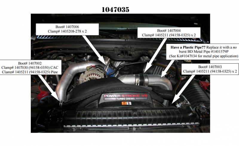 BD Power Intercooler Hose /& Clamp Kit 03-07 Ford 6.0L Powerstroke Diesel 1047035