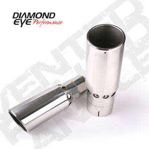 Diamond Eye Exhaust Tips - 94-97 Ford 7.3L - Vented - Rolled Angle - Clamp On - 94-97 Ford 7.3L