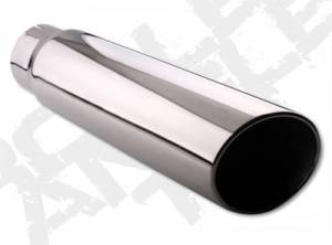 Diamond Eye Exhaust Tips - 08-10 Ford 6.4L - Rolled Angle - Clamp On - 08-10 Ford 6.4L