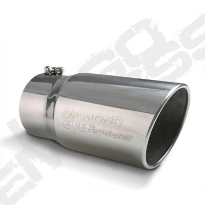 """Diamond Eye - 5"""" x 6"""" x 12"""" Embossed Bolt On Rolled Angle Exhaust Tip"""