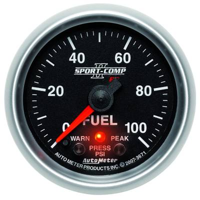 "Auto Meter Gauges - 2-1/16"" FUEL PRESS 0-100 PSI - FSE - PEAK/WARN"