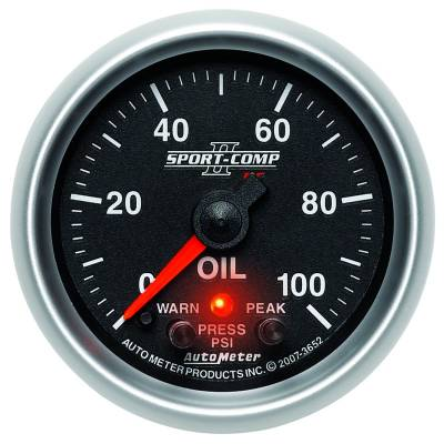 "Auto Meter Gauges - 2-1/16"" OIL PRESS 0-100 PSI - FSE - PEAK/WARN"