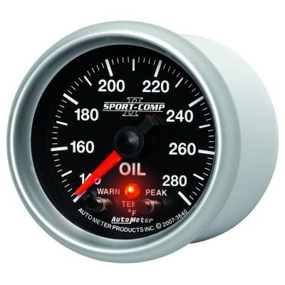 "Auto Meter Gauges - 2-1/16"" OIL TEMP - 140-280`F - FSE - PEAK/WARN"