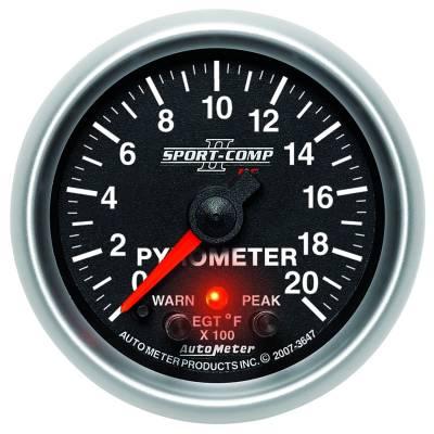 """Auto Meter Gauges - 2-1/16"""" PYROMETER KIT - 0-2000`F - FSE - PEAK/WARN"""