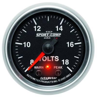 "Auto Meter Gauges - 2-1/16"" VOLTMETER 8-18V - FSE - PEAK/WARN"