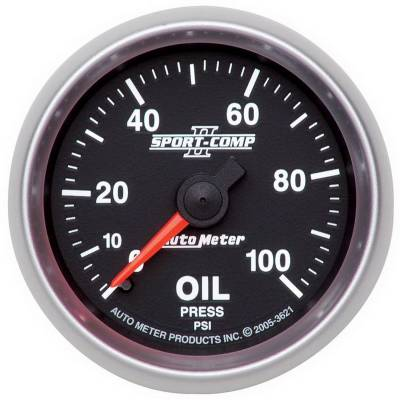 "Auto Meter Gauges - 2-1/16"" OIL PRESSURE 0-100 PSI - MECH"