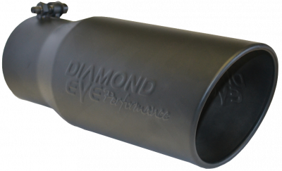 """Diamond Eye - 4"""" x 5"""" x 12"""" Black Embossed Bolt On Rolled Angle Exhaust Tip"""