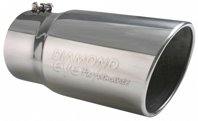 """Diamond Eye - 4"""" x 5"""" x 12"""" Embossed Bolt On Rolled Angle Exhaust Tip"""