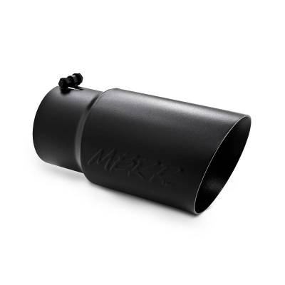 MBRP Exhaust - MBRP Black Series - Exhaust Tip - 6 Inch O.D. Dual Wall Angled 5 Inch Inlet 12 Inch Overall Length