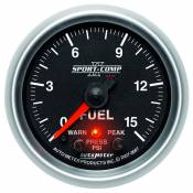 "Auto Meter - 03-07 Ford 6.0L - Sport Comp II - 03-07 Ford 6.0L - Auto Meter Gauges - 2-1/16"" FUEL PRESS 0-15 PSI - FSE - PEAK/WARN"