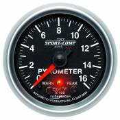 "Auto Meter - 03-07 Dodge 5.9L - Sport Comp II - 03-07 Dodge 5.9L - Auto Meter Gauges - 2-1/16"" PYROMETER KIT - 0-1600`F - FSE - PEAK/WARN"