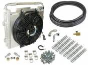 "BD Diesel Power - BD - Xtruded Double-Stack Transmission Oil Cooler with Fan - 1/2"" Tube - Dodge & Ford"