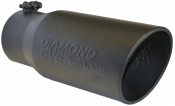"Diamond Eye Exhaust Tips - 03-07 Ford 6.0L - Embossed - Bolt On - 03-07 Ford 6.0L - Diamond Eye - 4"" x 5"" x 12"" Black Embossed Bolt On Rolled Angle Exhaust Tip"