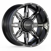 ROULETTE - 22X10.5 DUAL DRILL 6X135 6X5.5 -25MM OFFSET - BLACK / MILLED